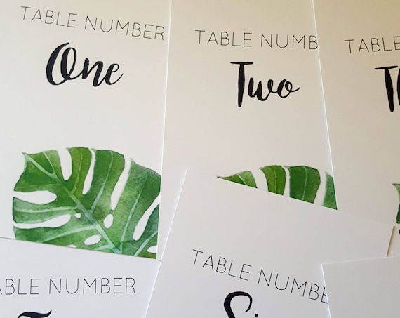 Watercolour Monstera Leaf Table Number cards 1 to 14