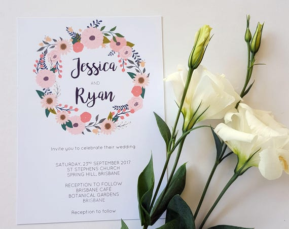 Floral Wreath Wedding Invitations | Garden Wedding | Floral Wedding Invitations | Spring Wedding