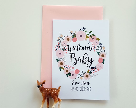 Personalised Welcome Baby Keepsake Card