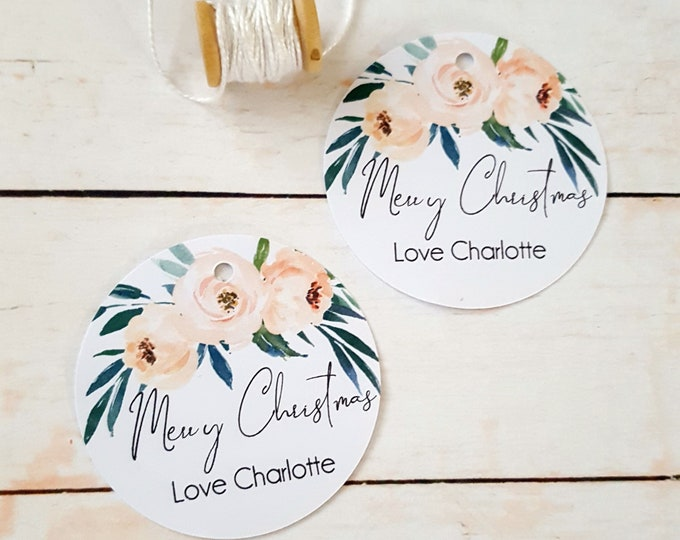 Personalised Floral Merry Christmas Gift Tags (12)