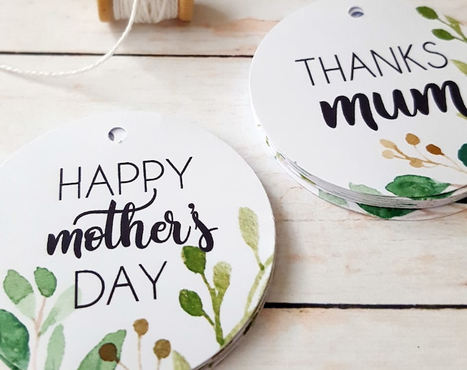 Greenery Wreath Botanical Happy Mother's Day Gift Tags (12) | Thanks Mum Gift Tags | Love You Tags
