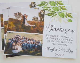 Wedding Thank you Photo Cards | Botanical Thank you Card | Wedding Thank you Card | Watercolour Leaves | Greenery | Printed Photo Cards