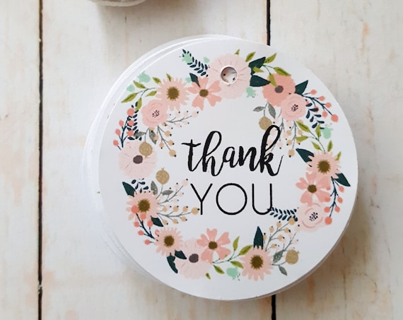 Floral Wreath Thank you Favour Tags (35) | Baby Shower Thank you Tags