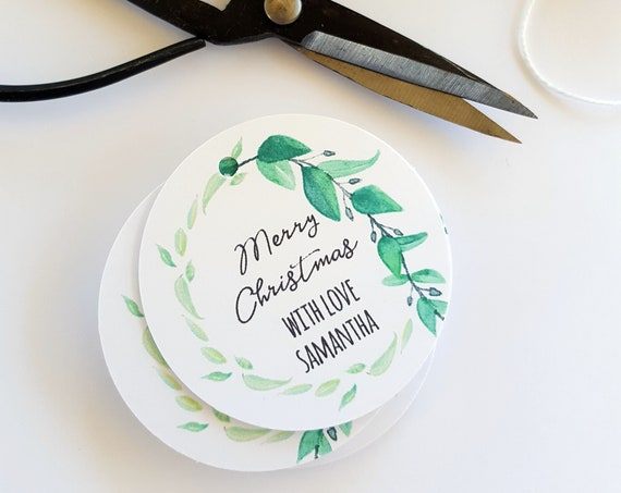 Personalised Greenery Wreath Botanical Christmas Gift Tags