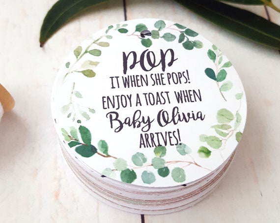 Eucalyptus Greenery Wreath Pop it when she pops Baby Shower Favour Tags
