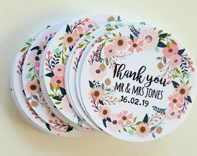 Floral Wreath Thank you Favour Tags