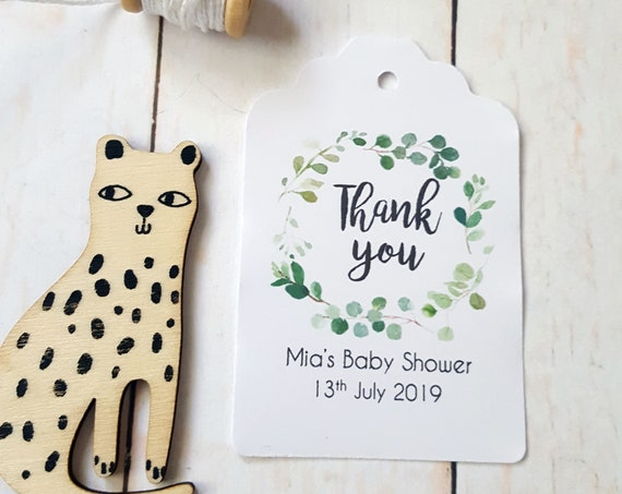 Eucalyptus Leaf Wreath Baby Shower Thank you Favour Tags