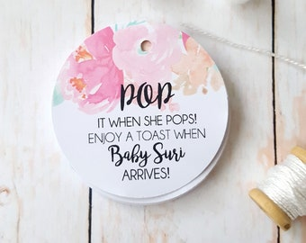 Boho Floral Pop it when she pops Baby Shower Favour Tags (24) | Wine bottle tags | Mini Champagne Tags - AUSTRALIAN SELLER