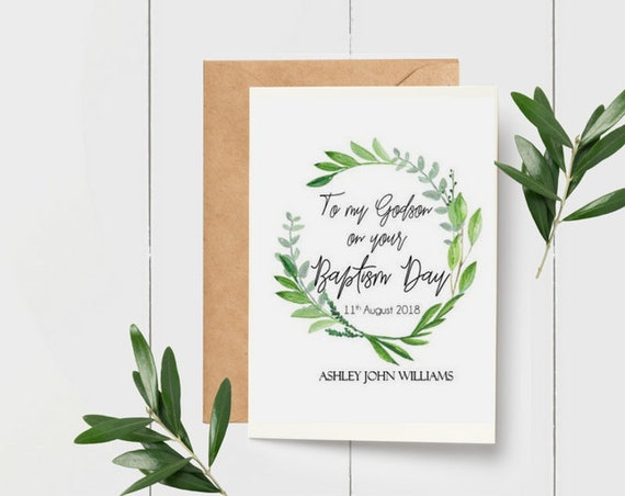 Greenery Wreath To our Godson on your Baptism Day Card