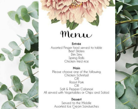 Peony Wedding Menu Cards x 25