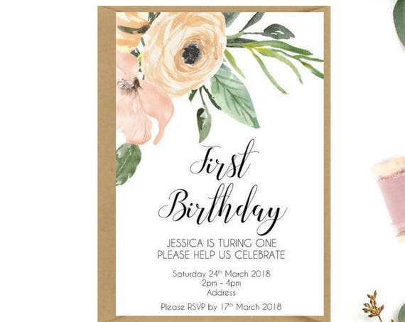 Watercolour Floral Birthday Party Invitations x 15