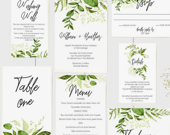 Botanical Wedding Invitation Suite