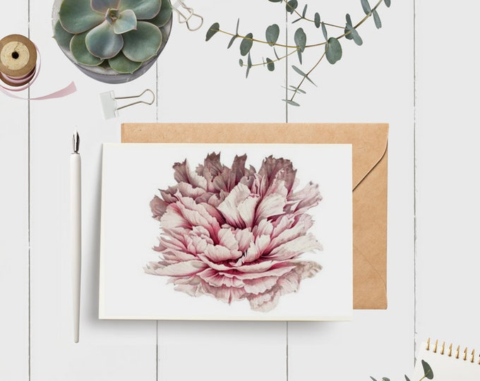 Peony Note Cards - (2) | Botanical Note Cards | Pink Floral Peony Cards | Floral Stationery Set
