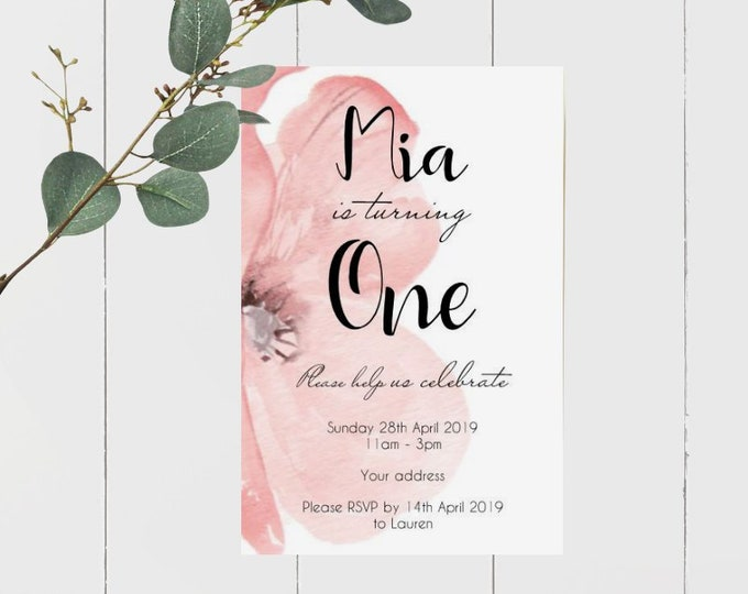 Girl First Birthday Invitations x 60 | Turning One | Printed Invitations | Pink Floral Birthday Party Invite