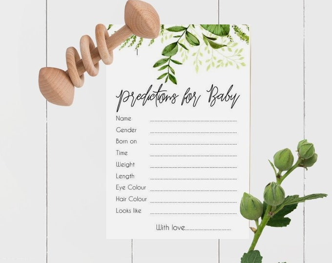 Printed Botanical Greenery Baby Prediction cards x 30