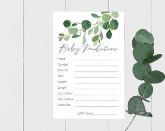 Eucalyptus Leaves Botanical Greenery Baby Prediction cards x 15