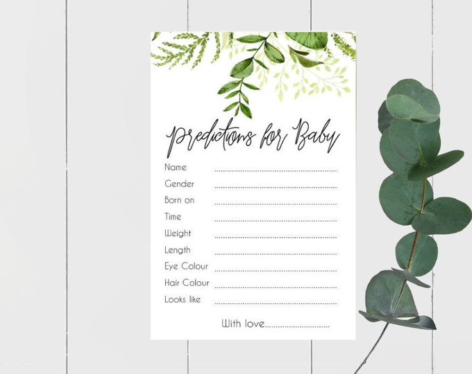 Printed Botanical Greenery Baby Prediction cards x 20