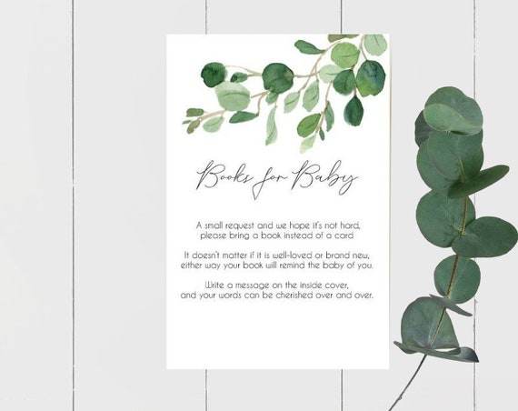 Eucalyptus Leaves Books for Baby Cards (15) | Botanical Greenery Baby Shower Cards