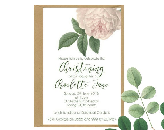 Vintage Rose Christening Invitations for Baby Girl