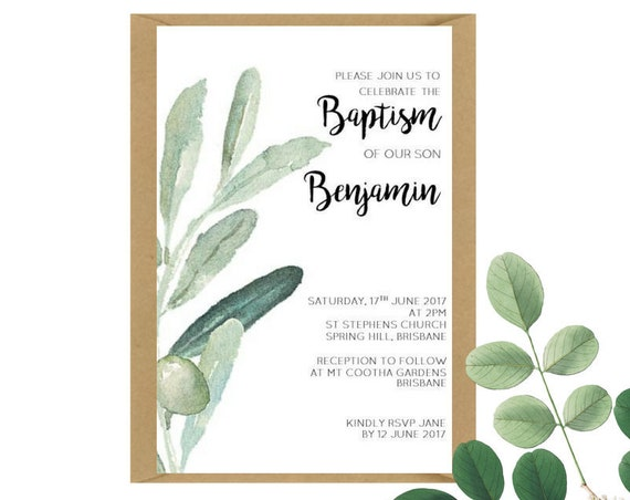 Watercolour Olive Branch Baptism Invitations x 25