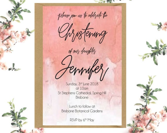 Peach Watercolour Christening Invitations x 25