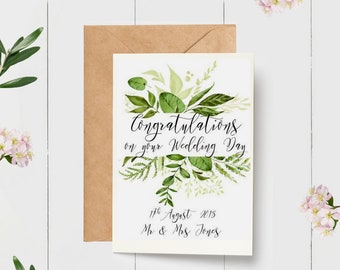 Wedding greeting cards etsy personalised botanical congratulations on your wedding day card newly married couple greeting card m4hsunfo