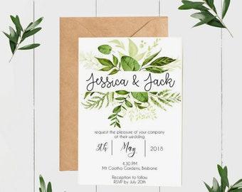 Green Foliage Wedding Invitations