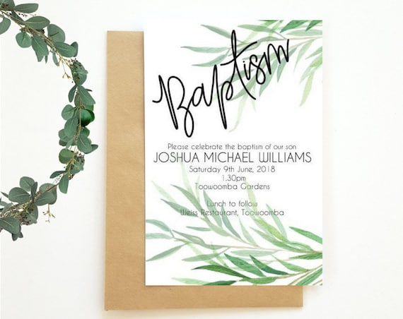 Greenery Leaves Baptism Invitations