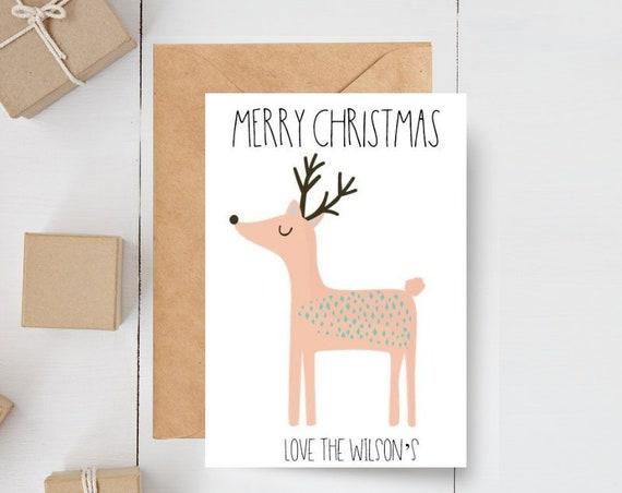 Cute Personalised Reindeer Christmas Card