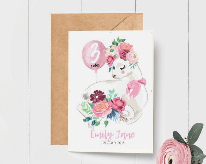 Floral Llama Birthday Card