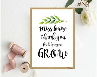 Teacher Appreciation Card | Thank you for helping me grow card | Thank you Teacher Card