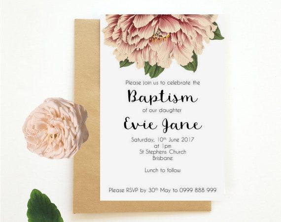 Vintage Peony Floral Baptism Invitations x 25