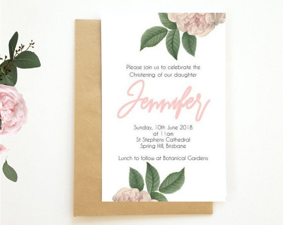 Vintage Roses Christening Invitations x 25