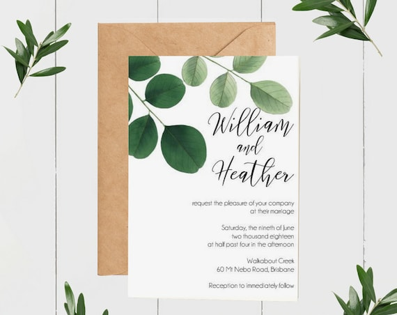 Botanical Greenery Wedding Invitation