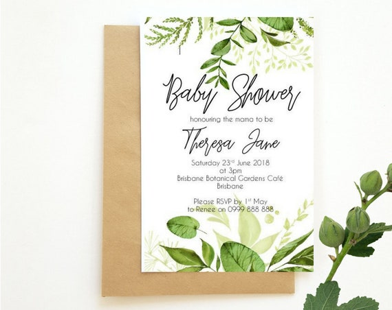 Botanical Baby Shower Invitations x 10