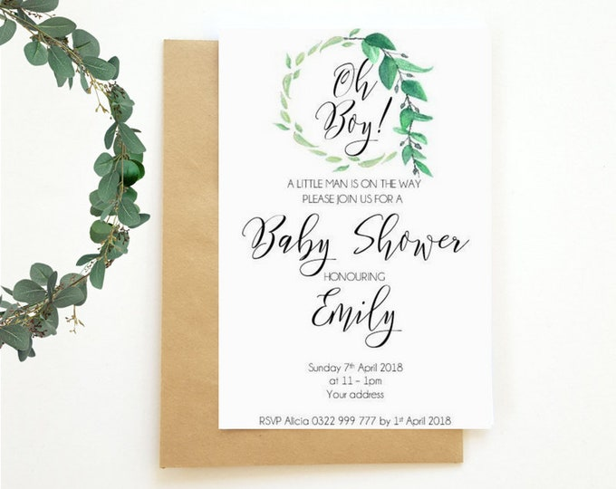 Oh Boy Greenery Wreath Baby Shower Invitations x 25
