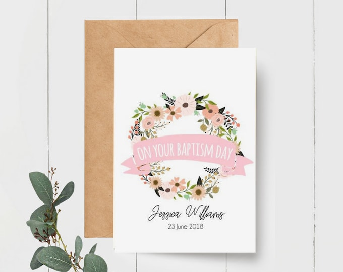 Floral Wreath Personalised On Your Baptism Day Card
