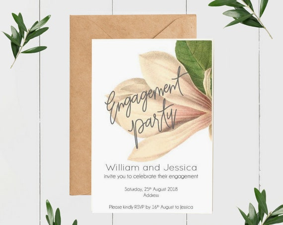 Vintage Magnolia Engagement Invitations (50)