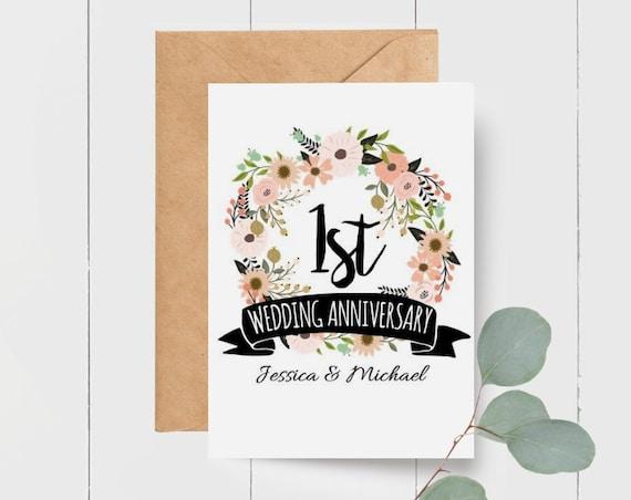 Personalised 1st Wedding Anniversary Card