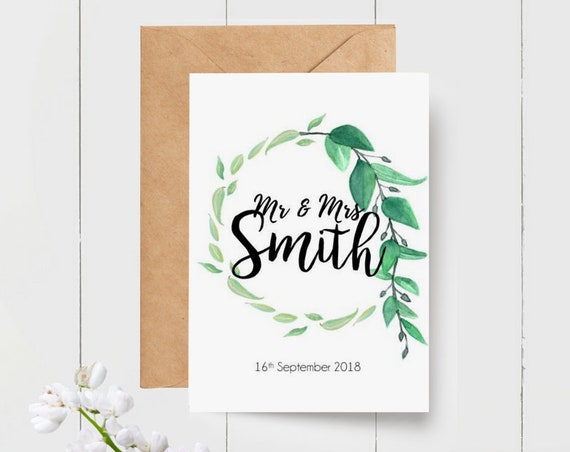 Mr & Mrs Personalised Wedding Card