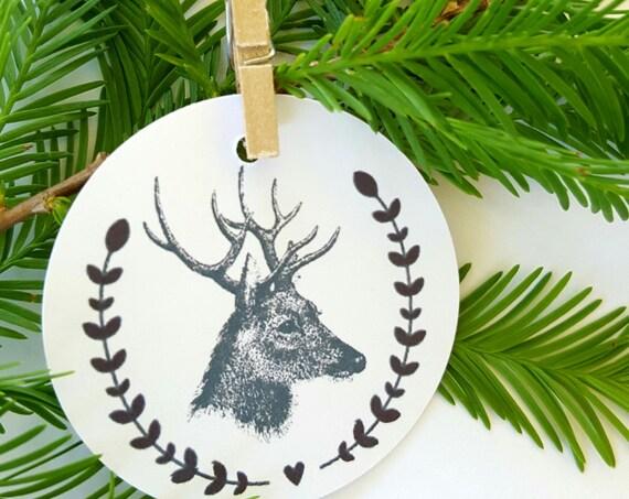Vintage Reindeer Gift Tags - Set of 12