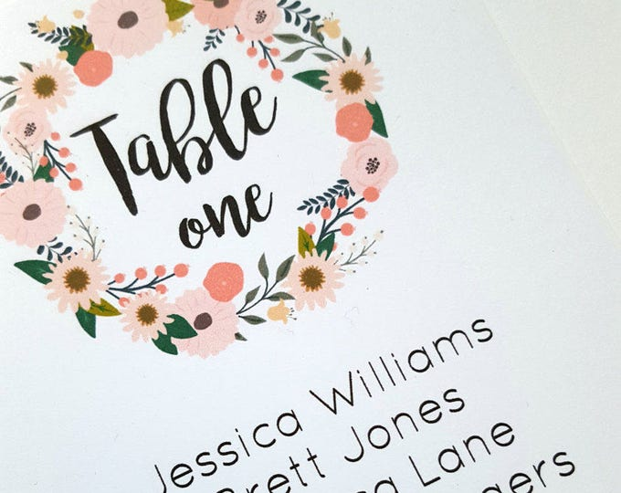 Floral Wreath Wedding Seating Chart Cards