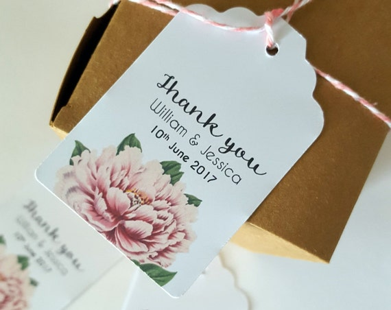 Floral Wedding Thank you Favour Tags - Set of 20