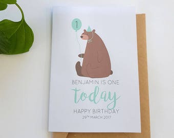 Retro Bear Happy Birthday Card | Boy Birthday Card | Personalised Children's Age Birthday Card | Bear Birthday