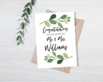 Eucalyptus Leaves Mr & Mrs Wedding Card
