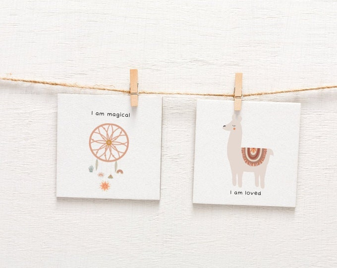 Featured listing image: Boho Baby Nursery Affirmation Cards