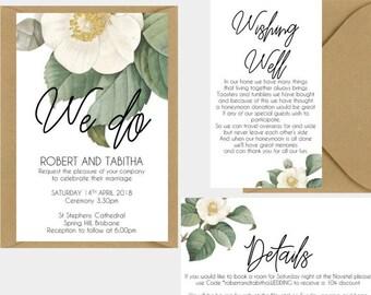 Vintage White Camellia Floral Wedding Invitation Suite