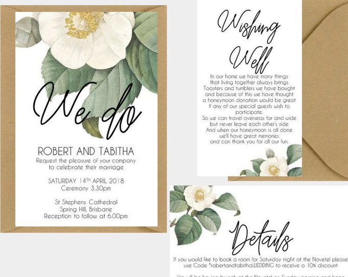Vintage White Camellia Floral Wedding Invitation Suite