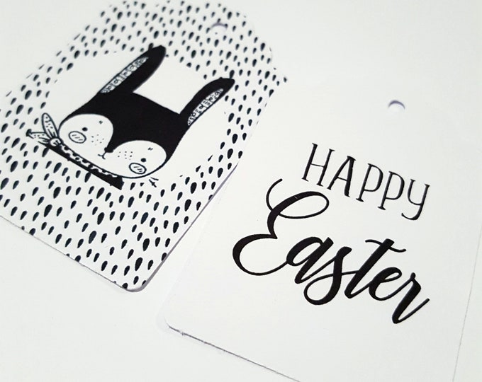 Happy Easter Gift Tags x 12 | Cute Rabbit Gift Tags | Tags for Easter Gift | Monochrome Easter Tags | Black and White Easter Tags