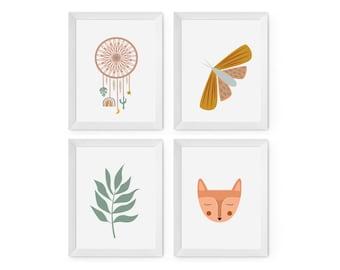 A4 Boho Baby nursery art prints - Set of 4 prints
